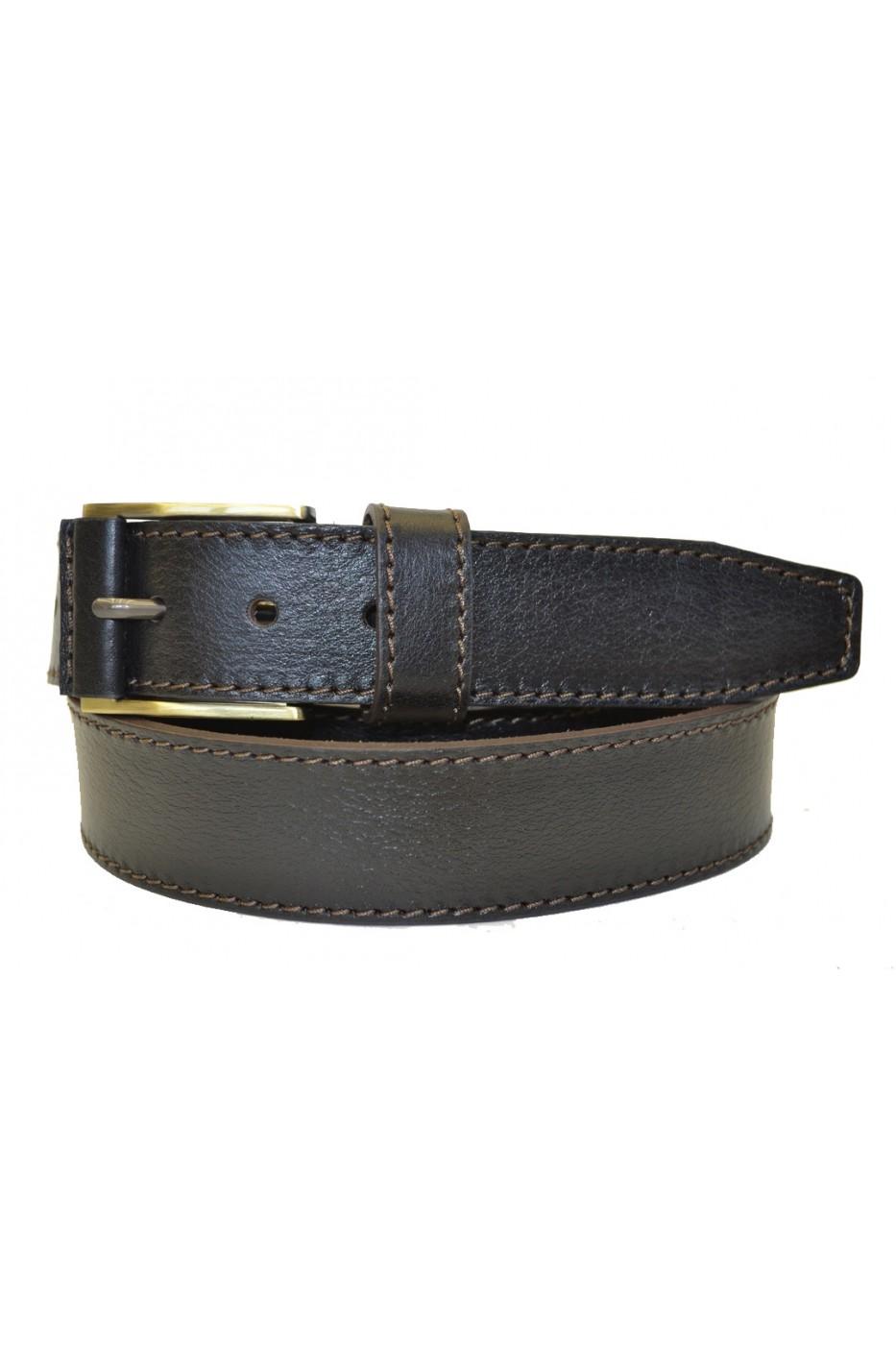 Тёмно-коричневый кожаный мужской ремень 350022