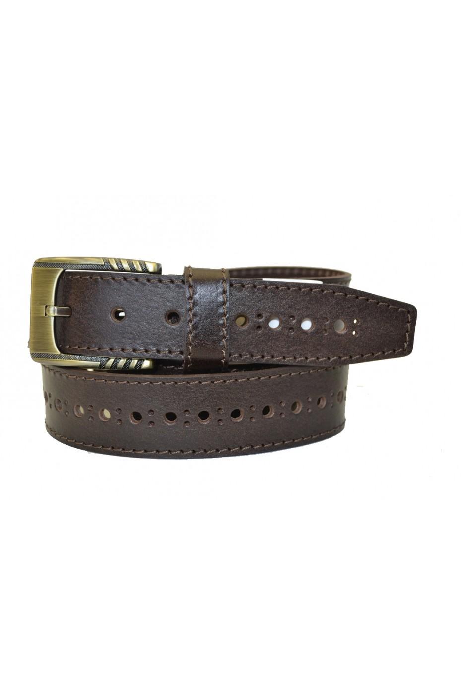 Коричневый кожаный мужской ремень 350810