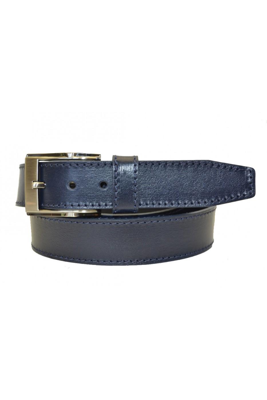 Тёмно-синий кожаный мужской ремень 351007