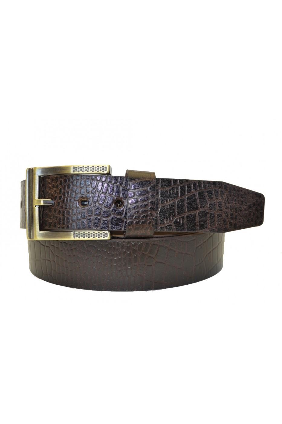 Коричневый кожаный мужской ремень 351037