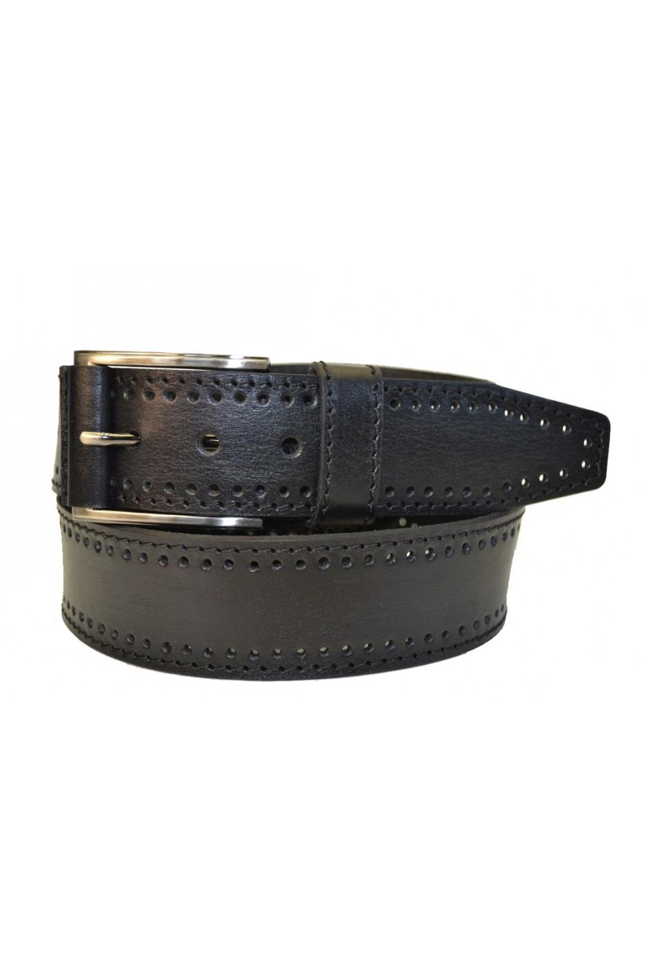 Чёрный кожаный мужской ремень 402001