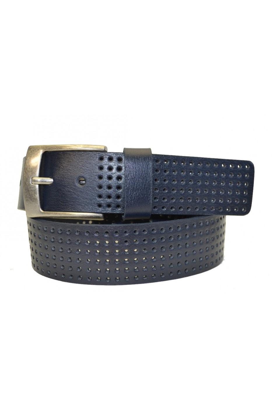 Тёмно-синий кожаный мужской ремень 405907