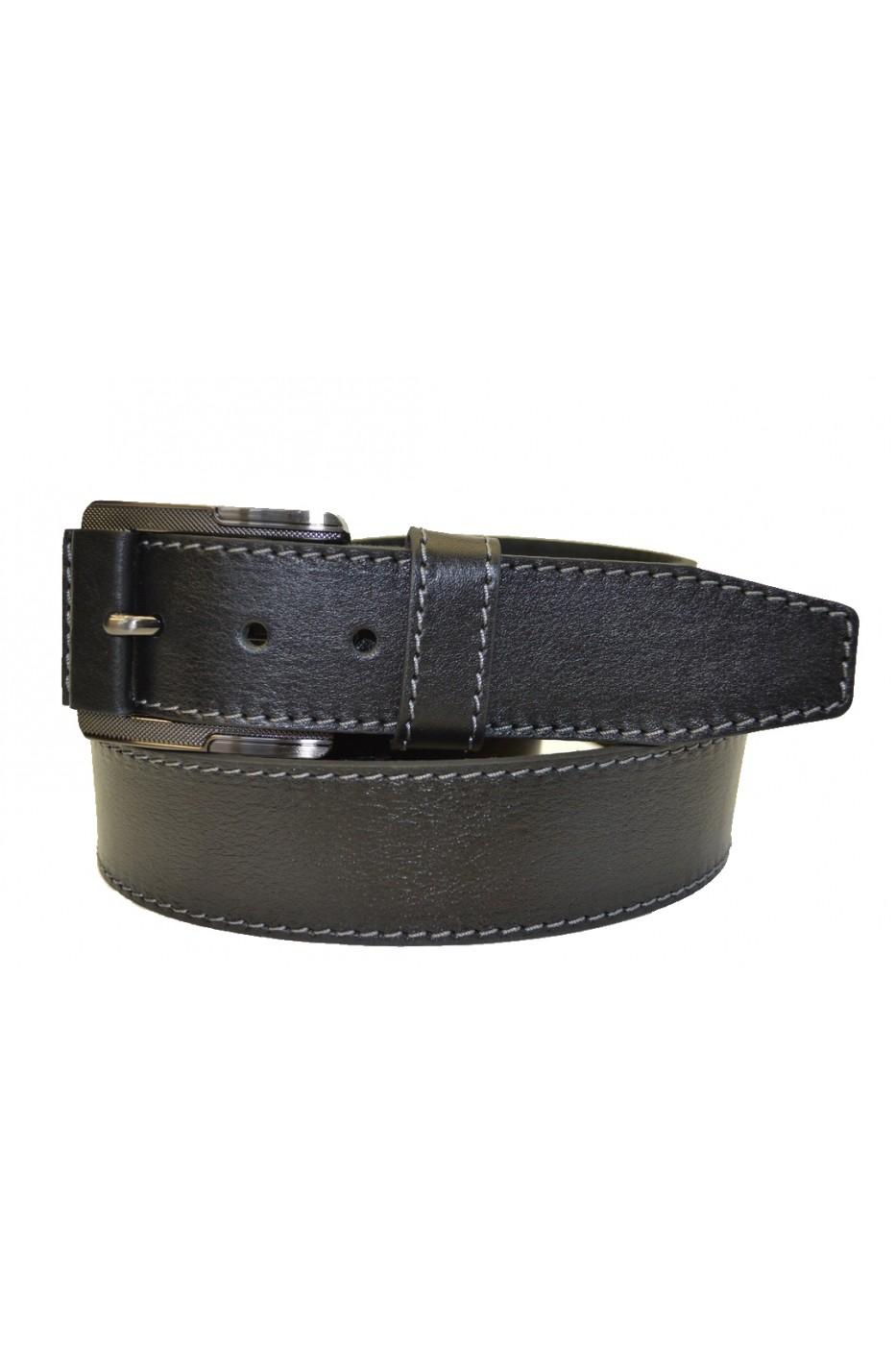 Тёмно-коричневый кожаный мужской ремень 406001