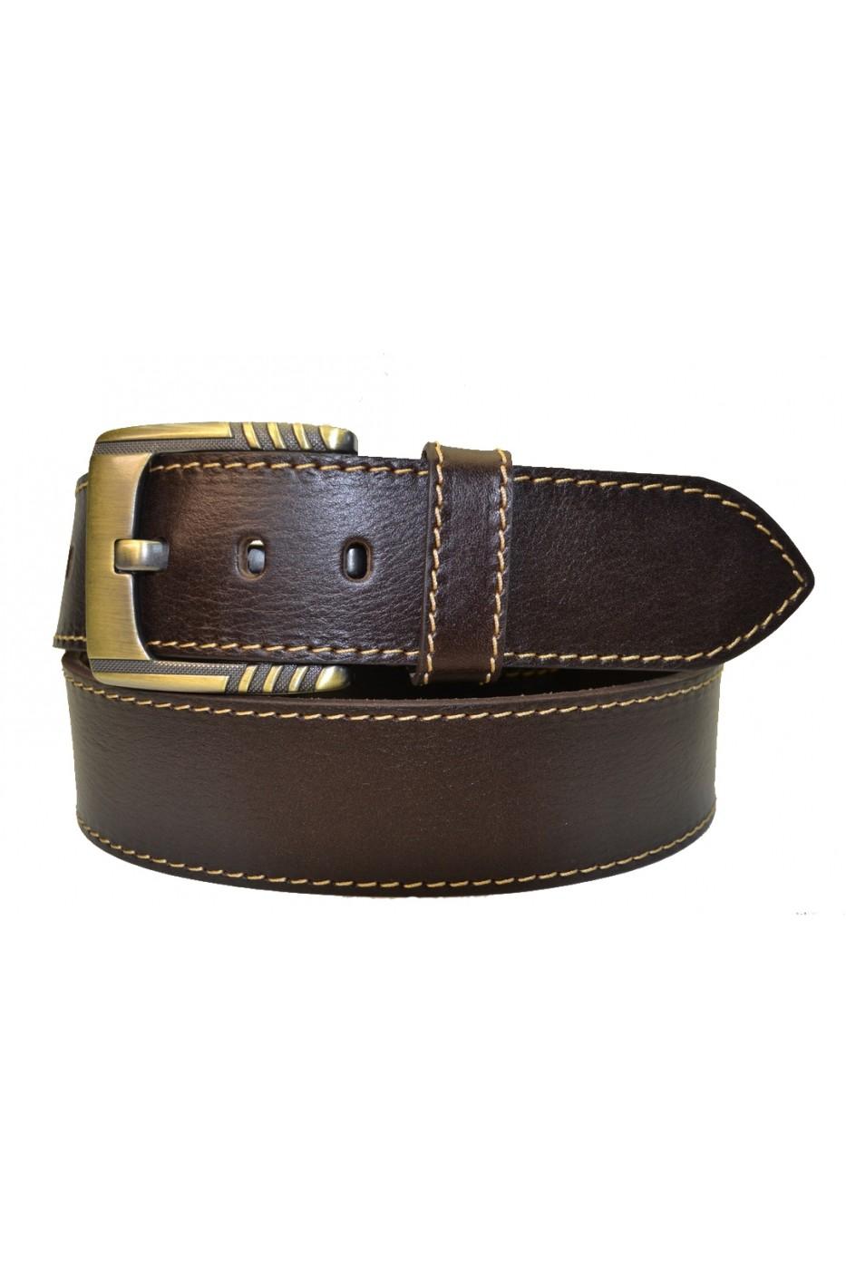 Коричневый кожаный мужской ремень 451010