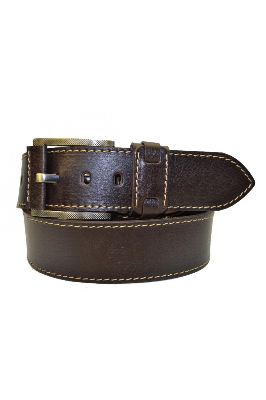 Тёмно-коричневый кожаный мужской ремень 453510