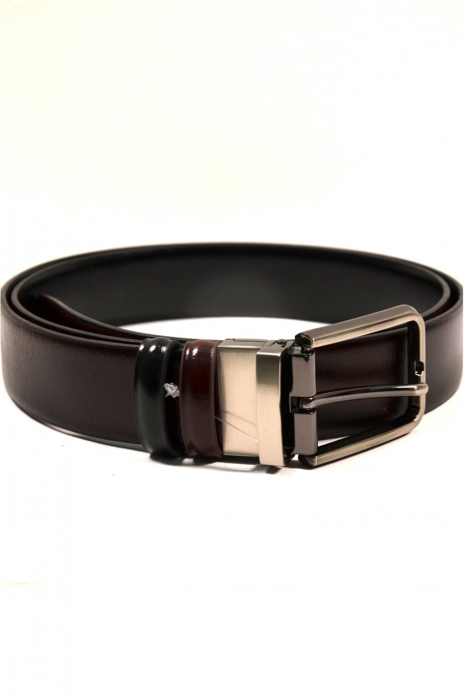 Двусторонний кожаный мужской ремень с чёрным и коричневым цветом Навигатор