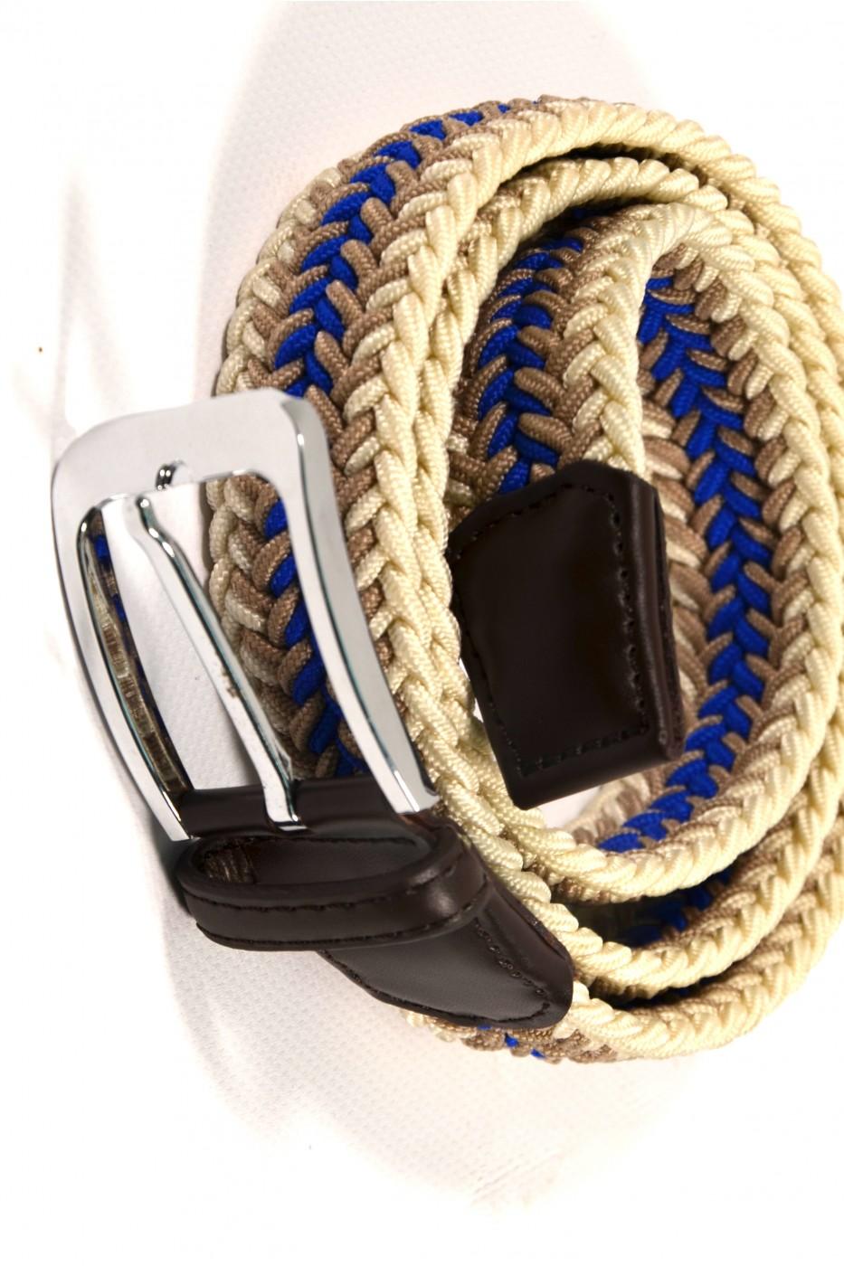 Белый мужской ремень-резинка плетённый с синей вставкой А1