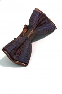 Коричнево-синяя фактурная мужская бабочка комби