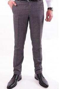 Коричневые мужские брюки casual в клетку 1440 MEYLI