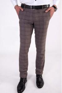 Коричневые мужские брюки casual в клетку 1525 MEYLI