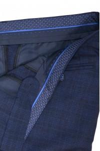 Тёмно-синие мужские брюки в светло-синюю клетку 2015 (ERWIN-588)