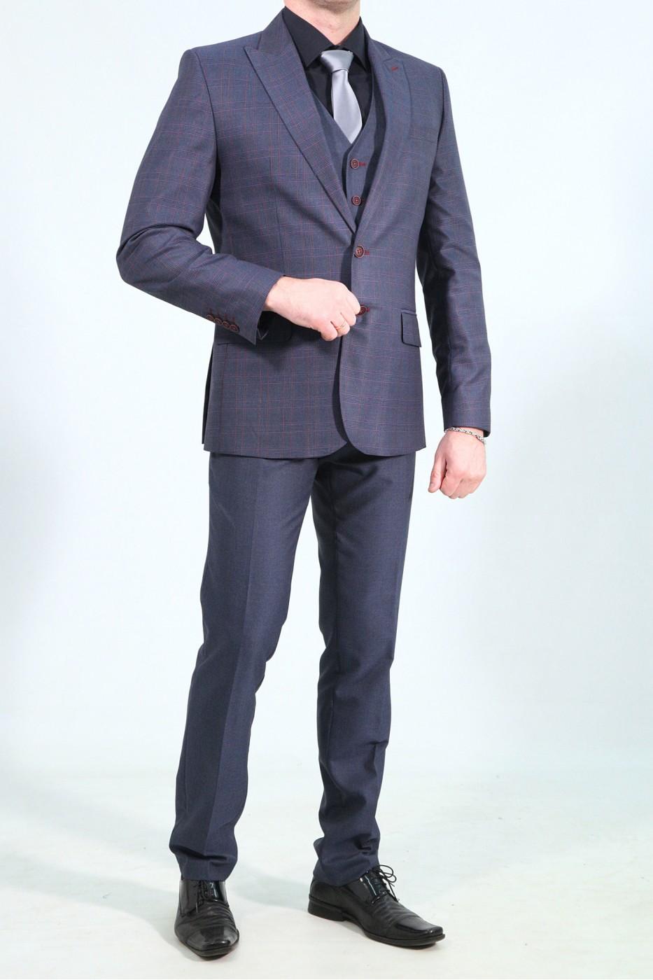 Тёмно-синие мужские классическую брюки в красную клетку  2019Б (VOLAN-552)