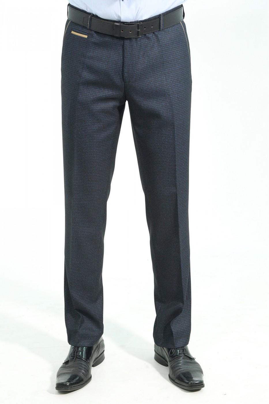 Тёмно-синие мужские брюки в синюю клетку 2026 (LUKE-552O)