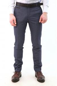 Тёмно-синие мужские брюки casual в мелкую чёрную клетку c чёрными карманами 2110 (LUKE-552O)