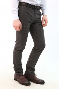 Серые мужские брюки casual в белую крупную клетку  2112 (STUART-552)