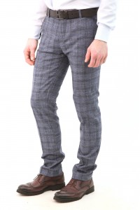 Cерые мужские брюки casual в синюю клетку 2113 (MATTHEW-552)