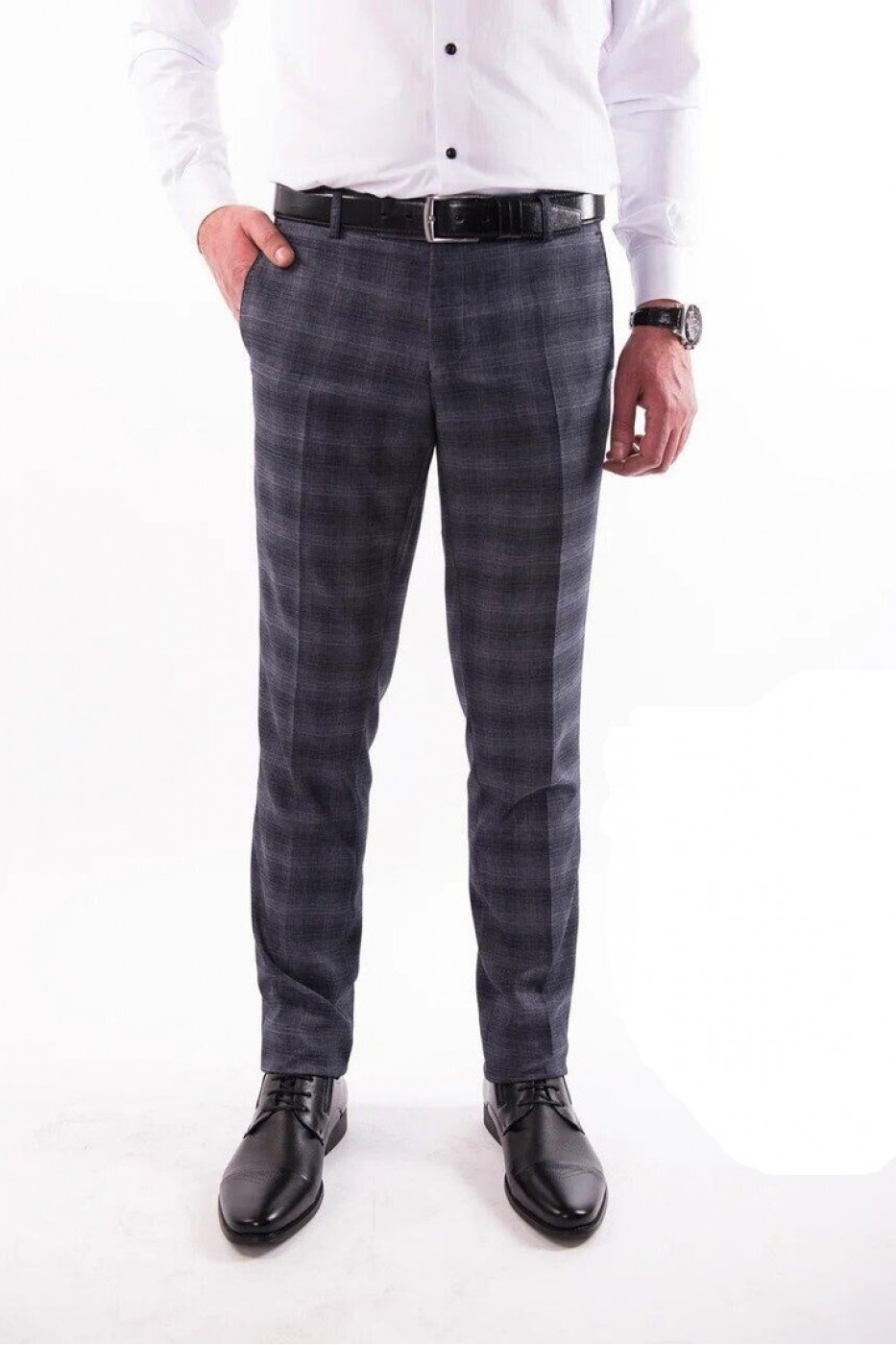 Тёмно-серые мужские брюки casual в серую клетку 4412 MEYLI