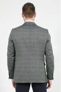 Серый мужской пиджак в синюю клетку под джинсы 830 (GREY-168)