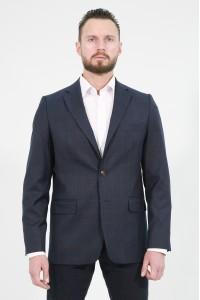 Тёмно-синий мужской пиджак в бордовую клетку под джинсы 831 (ARCHIE-168)
