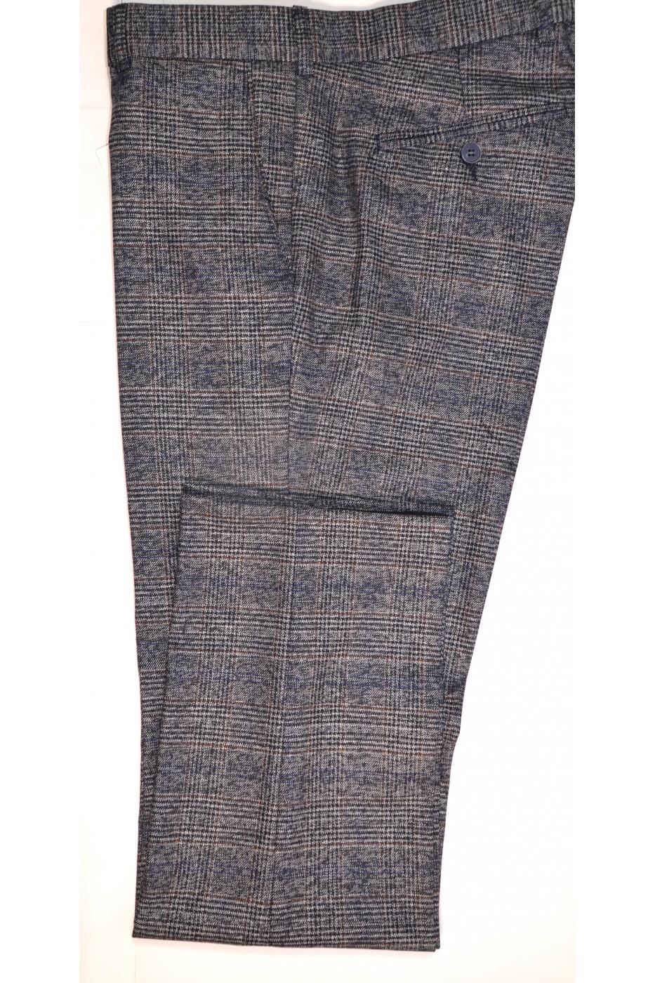Тёмно-серые мужские брюки в красно-синюю клетку 881 (MILLER-550)