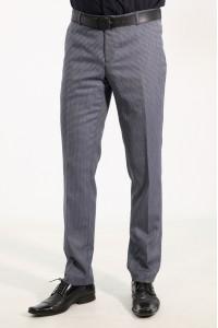 Серые летние классические брюки в мелкую синюю клетку 921 (SUNSET-552)