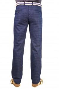 Тёмно-синие мужские брюки чинос в синюю клетку casual YAZLIK EKOSE (BLUE)