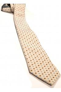 Бежевый мужской галстук в коричнево-голубой квадрат