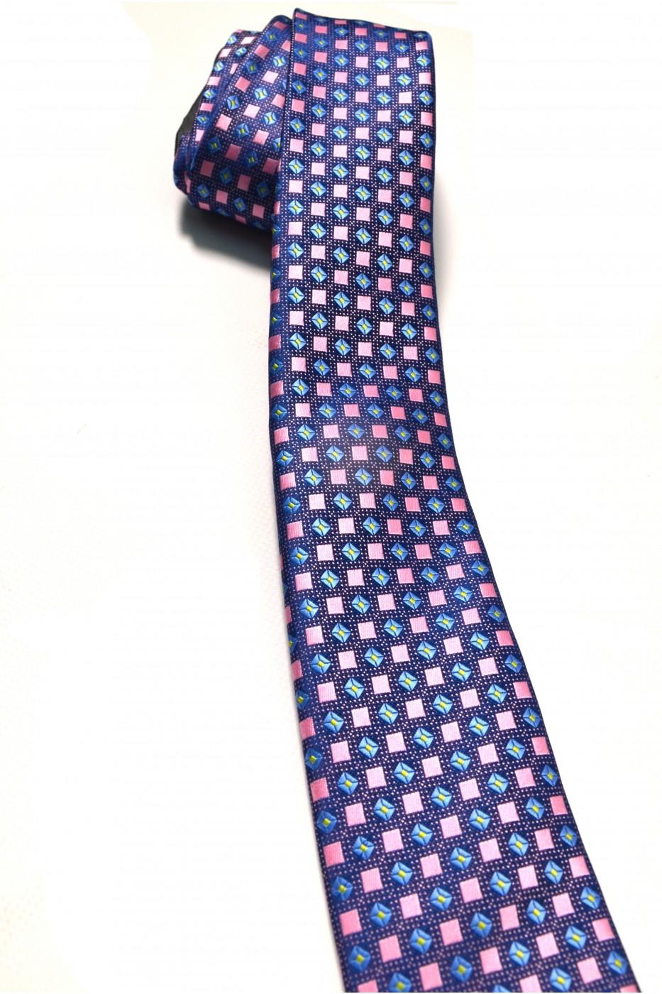 Сиреневый мужской галстук в розовый квадрат с рисунком