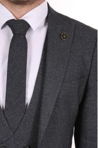 Серый мужской костюм тройка в мелкую клетку с галстуком и жилетом BELFOR 13131-2