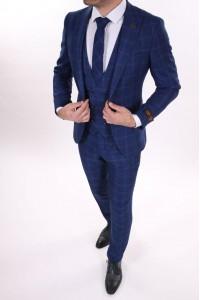Тёмно-синий мужской костюм тройка в синюю клетку с галстуком и жилетом BELFOR 14868