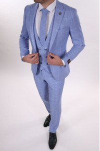Голубой мужской костюм тройка в белую клетку с галстуком и жилетом BELFOR 14868-2