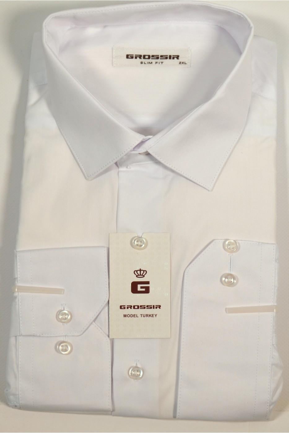 Белая деловая рубашка GROSSIR GS 202