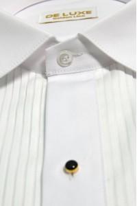 Белая мужская праздничная рубашка под бабочку с золотыми вставками DE LUXE GOLD