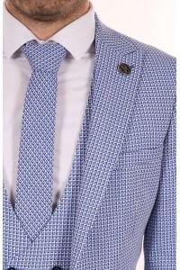 Белый мужской костюм тройка в синюю клетку с галстуком и жилетом BELFOR 13146