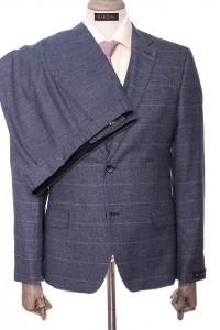 Серый мужской костюм тройка в синюю клетку DIBONI DP 4589