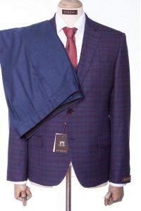 Фиолетовый мужской костюм в синюю клетку DIBONI DP 4678