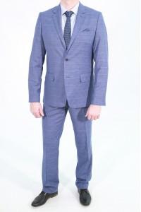 Голубой мужской костюм в клетку 733 (MORIS-UV5BN550)