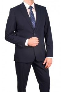 Тёмно-синий мужской классический костюм 817 (VELEMAS-162550)