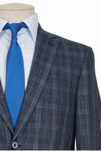Тёмно-серый мужской костюм в синюю клетку NOWAL KD 950