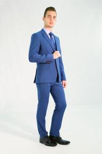 Голубой мужской костюм-тройка 734 (JEFF-UV5BN550)