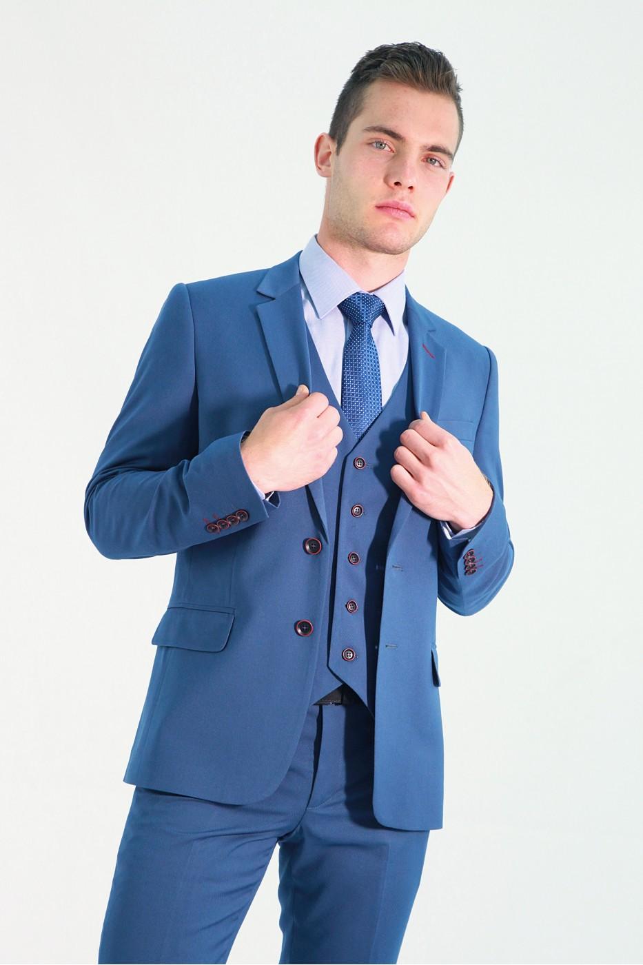 Голубой мужской жилет 735 (JEFF-1291)