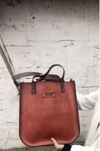 Бордовая кожаная женская сумка-шоппер ручной работы А-108