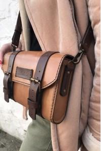 Коричневая кожаная женская сумка А-108