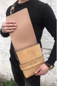 Бежевая кожаная мужская сумка через плечо ручной работы