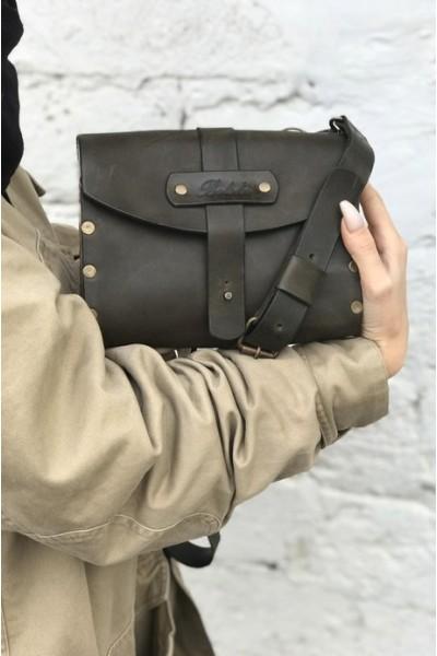 Кожаная сумка с вставками