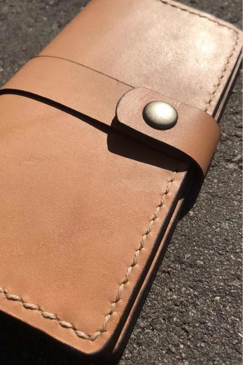 Коричневое кожаное портмоне ручной работы L-101