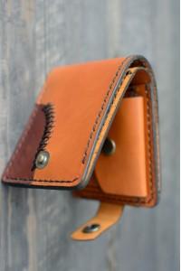 Коричневый кошелек из натуральной кожи ручной работы с монетницей L-151520