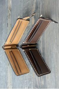 Коричневый зажим для денег ручной работы из натуральной кожи L-25112020