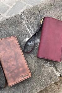 Бордовое кожаное портмоне ручной работы L-101