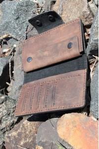 Коричневое кожаное портмоне ручной работы L-102